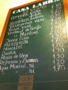 Precios de bebidas
