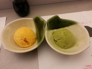 Helados de mango y té verde