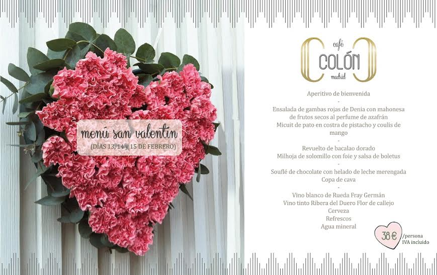 Menú San Valentín Café Colón